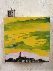 Mixed media: water color, gel transfer on wood. By Maureen McCauley Evans